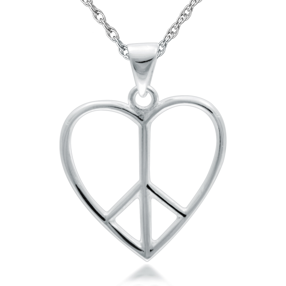 Heart Shaped Peace Symbol Necklace, 925 Sterling Silver