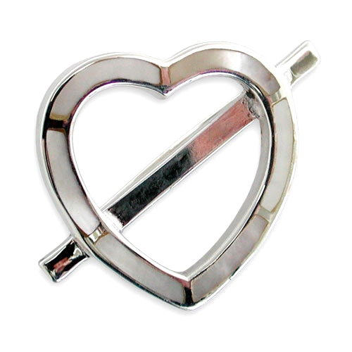Heart Shaped Sterling Silver & Mother of Pearl Brooch