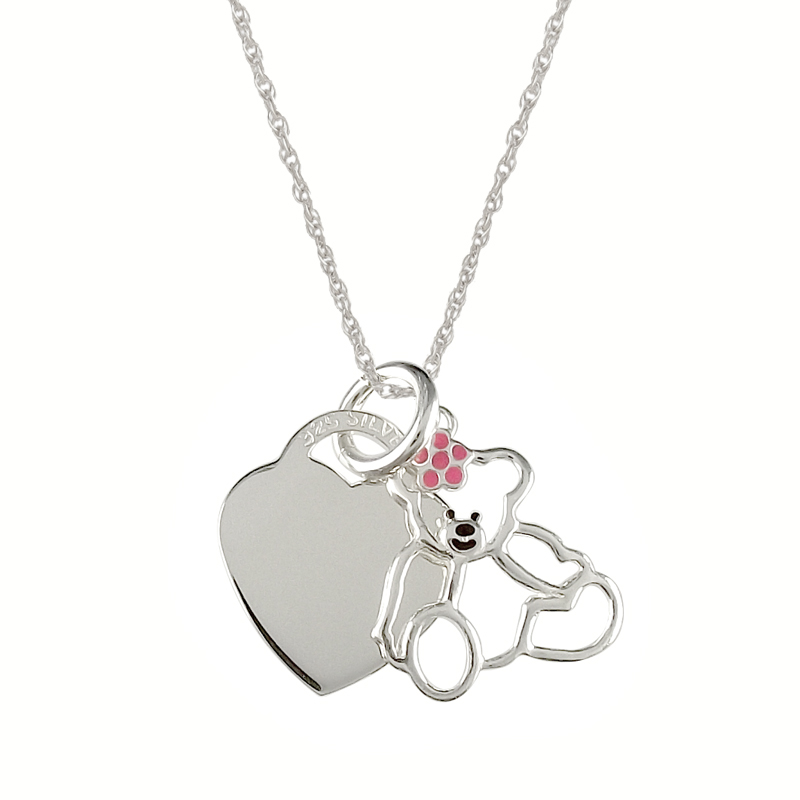 Teddy Bear with Pink Bow Sterling Silver Heart Necklace (can be personalised)