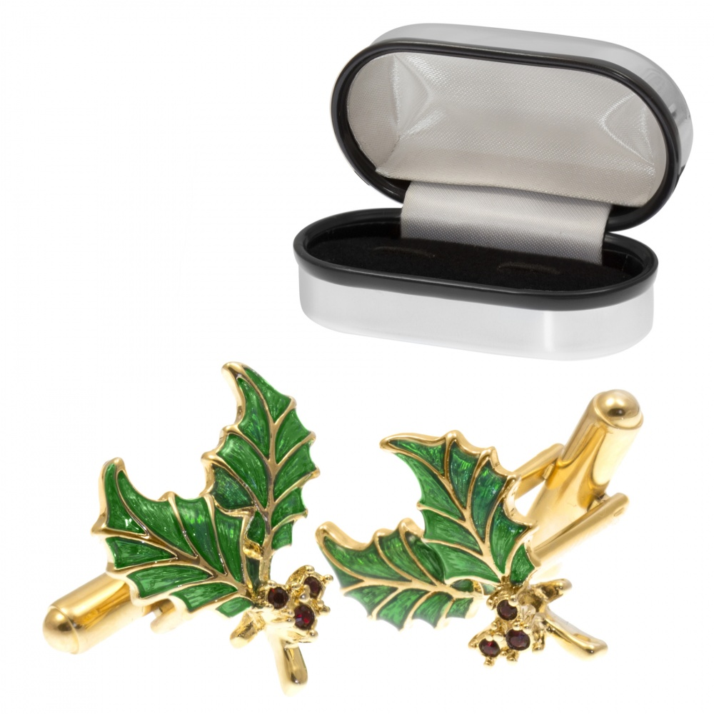 Holly Cufflinks, Gold Plated with Enamel (can be personalised)