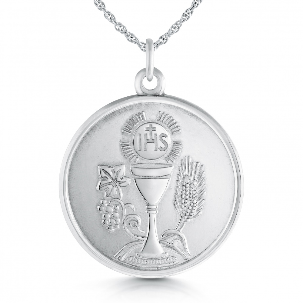 Traditional Holy Communion Necklace, Personalised, Sterling Silver