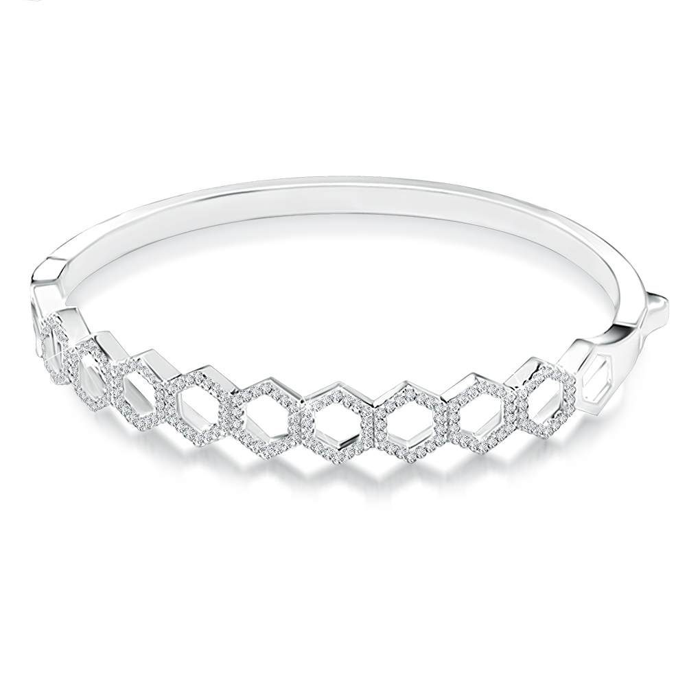 Ladies Honeycomb Bangle with CZ's and Personalisation, Sterling Silver by J*Jaz