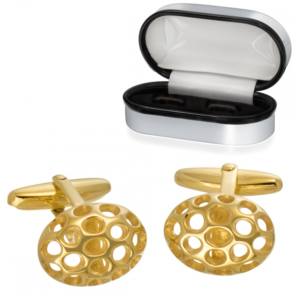 Honeycomb Cufflinks, Gold Plated 925 Sterling Silver (can be personalised)