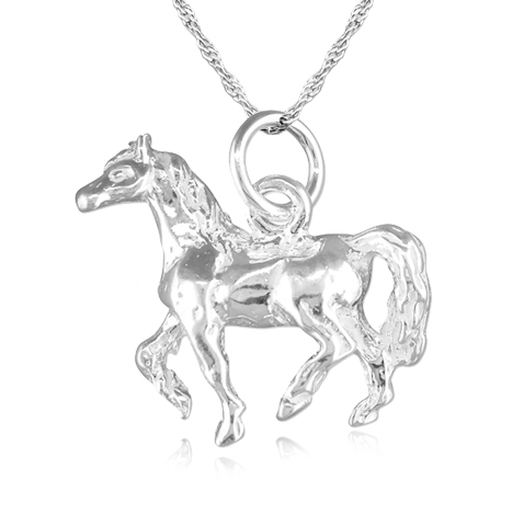 Equestrian Horse Trotting Necklace, Sterling Silver