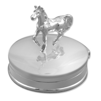 Horse Standing Sterling Silver Round Pill Box