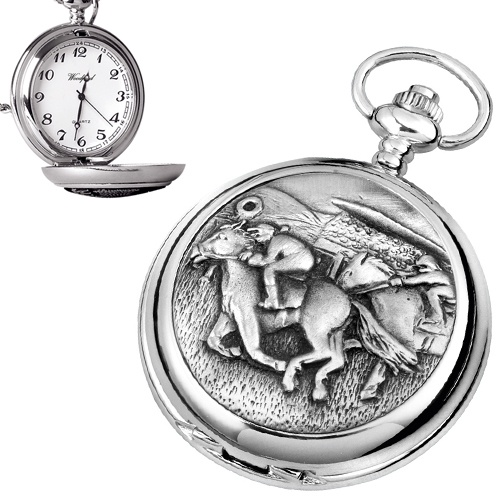 Horse Racing Pewter Quartz Pocket Watch (can be personalised)