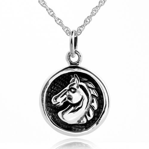 Horse's Head Necklace, Sterling Silver