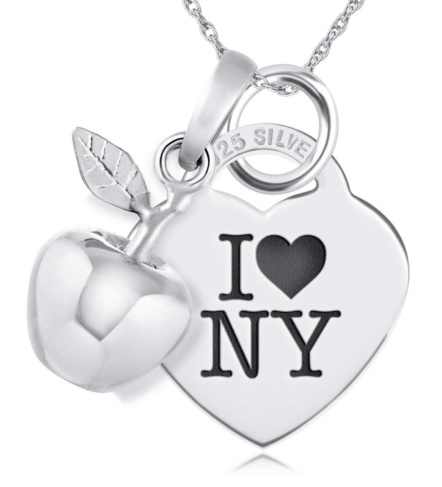 I Love New York Necklace, Personalised, Sterling Silver