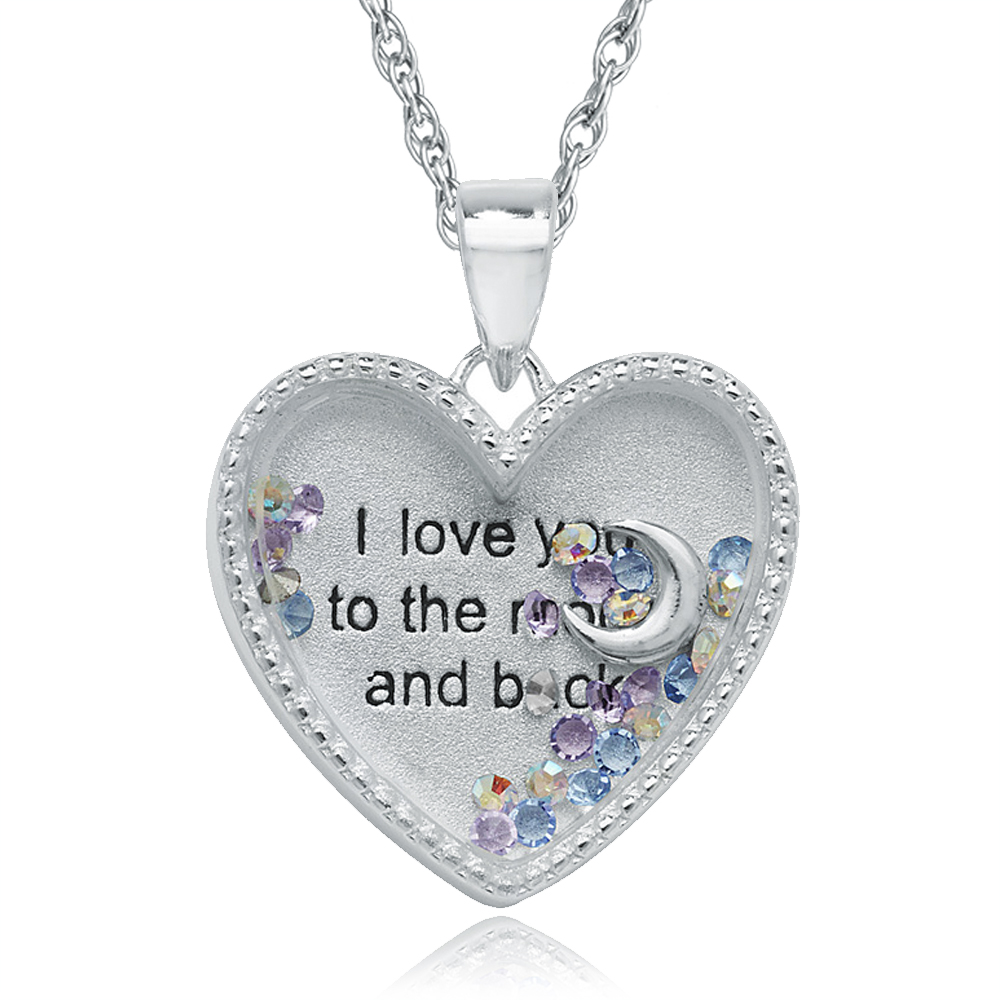 I love you to the moon back treasure locket personalised engraved mozeypictures Images