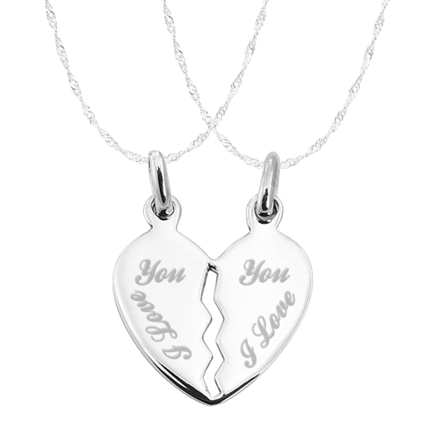 I love you split broken heart sterling silver necklace can be i love you split broken heart sterling silver necklace can be personalised aloadofball Choice Image