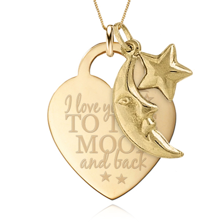 I love you to the moon back heart pendant with charm 9ct yellow i love you to the moon back heart pendant with charm 9ct yellow gold can be personalised mozeypictures Choice Image