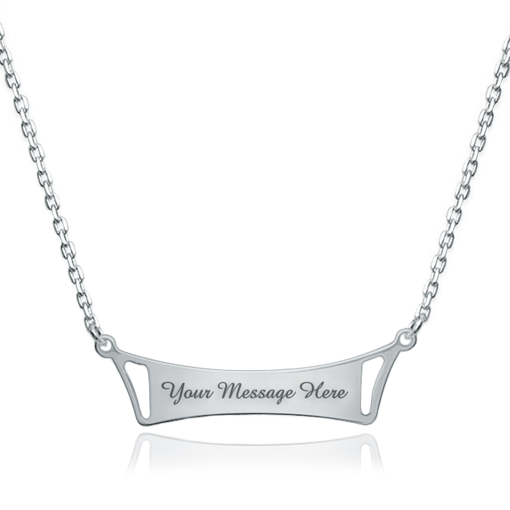 Identity Bar Necklace, Personalised, Sterling Silver, Name Plate