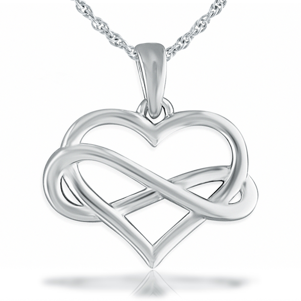 Infinity Symbol and Heart Necklace, Sterling Silver