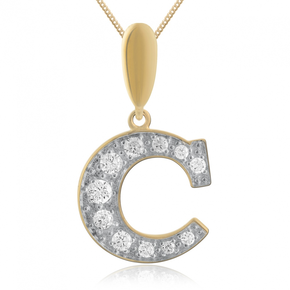 Initial C Necklace, 9ct Yellow Gold & Cubic Zirconia