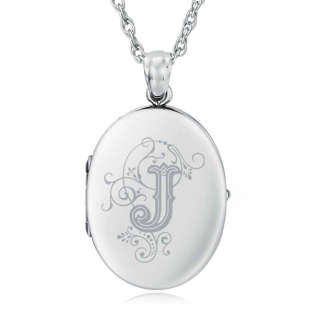 Initial/Letter J Sterling Silver 2 Photo Locket (can be personalised)