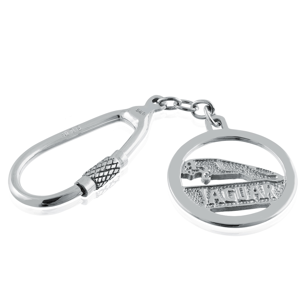 Jaguar Logo/Badge Keyring Sterling Silver, Hallmarked, Personalised