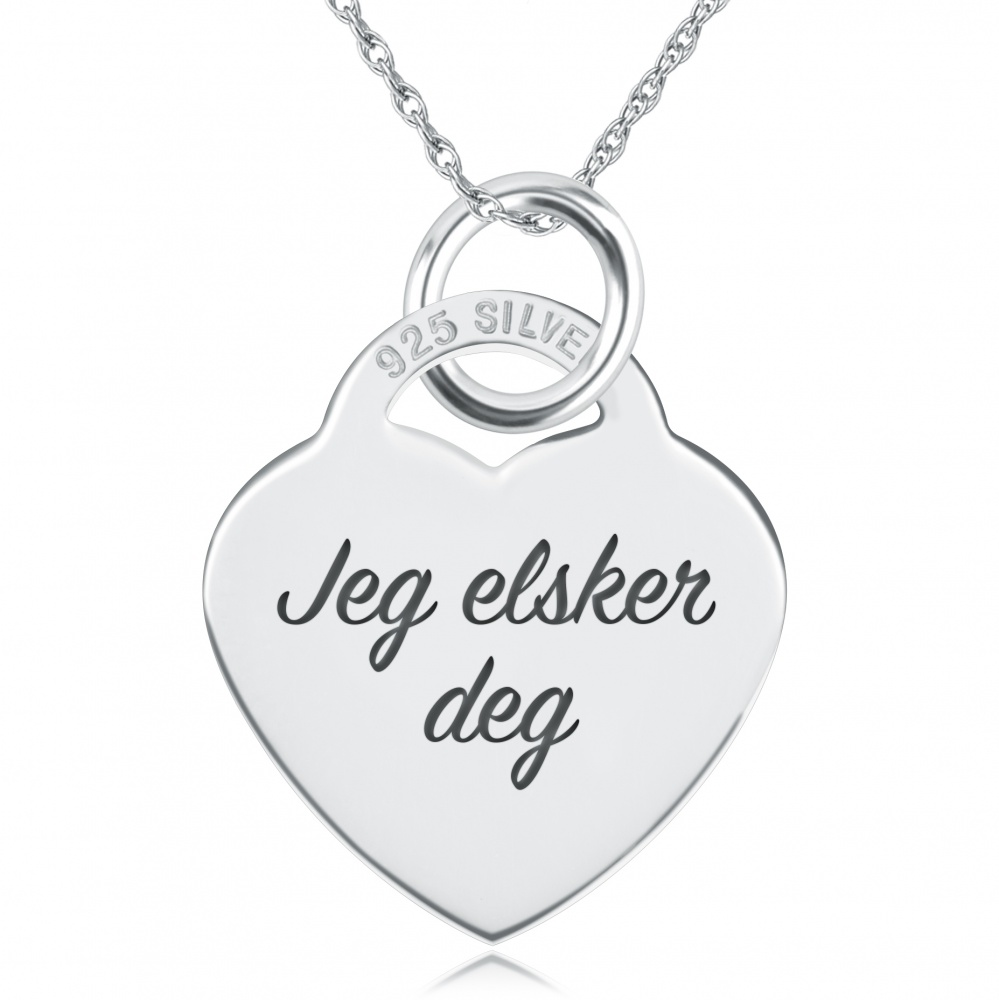 Jeg Elsker Deg Necklace, Personalised, Sterling Silver