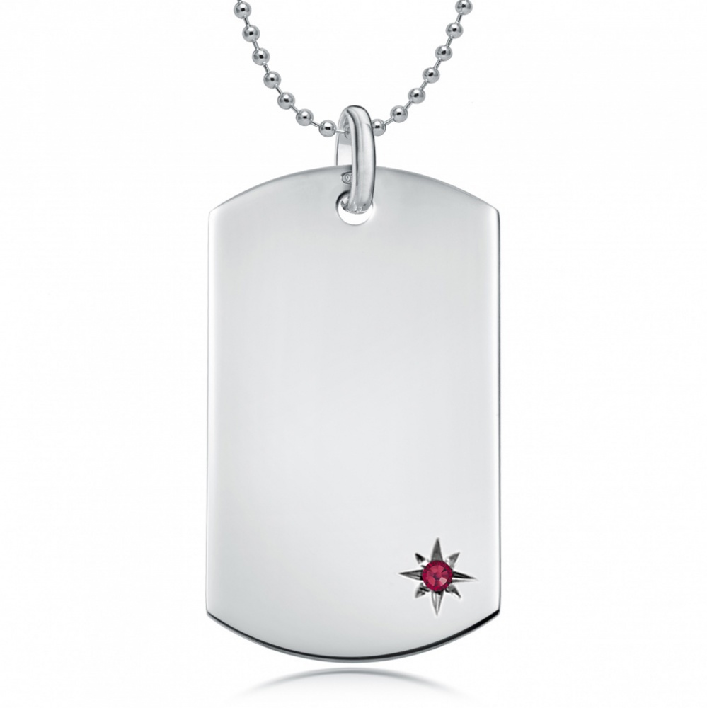 July Birthstone Dog Tag Necklace, Personalised Engraving, Sterling Silver, Ruby
