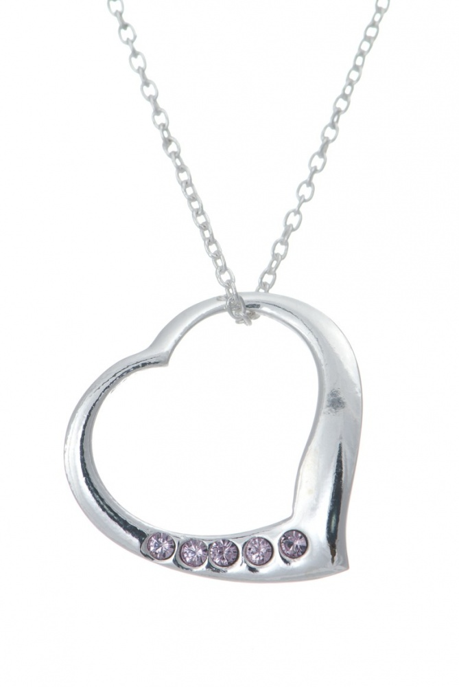 June Birthstone Open Heart Necklace - 925 Sterling Silver