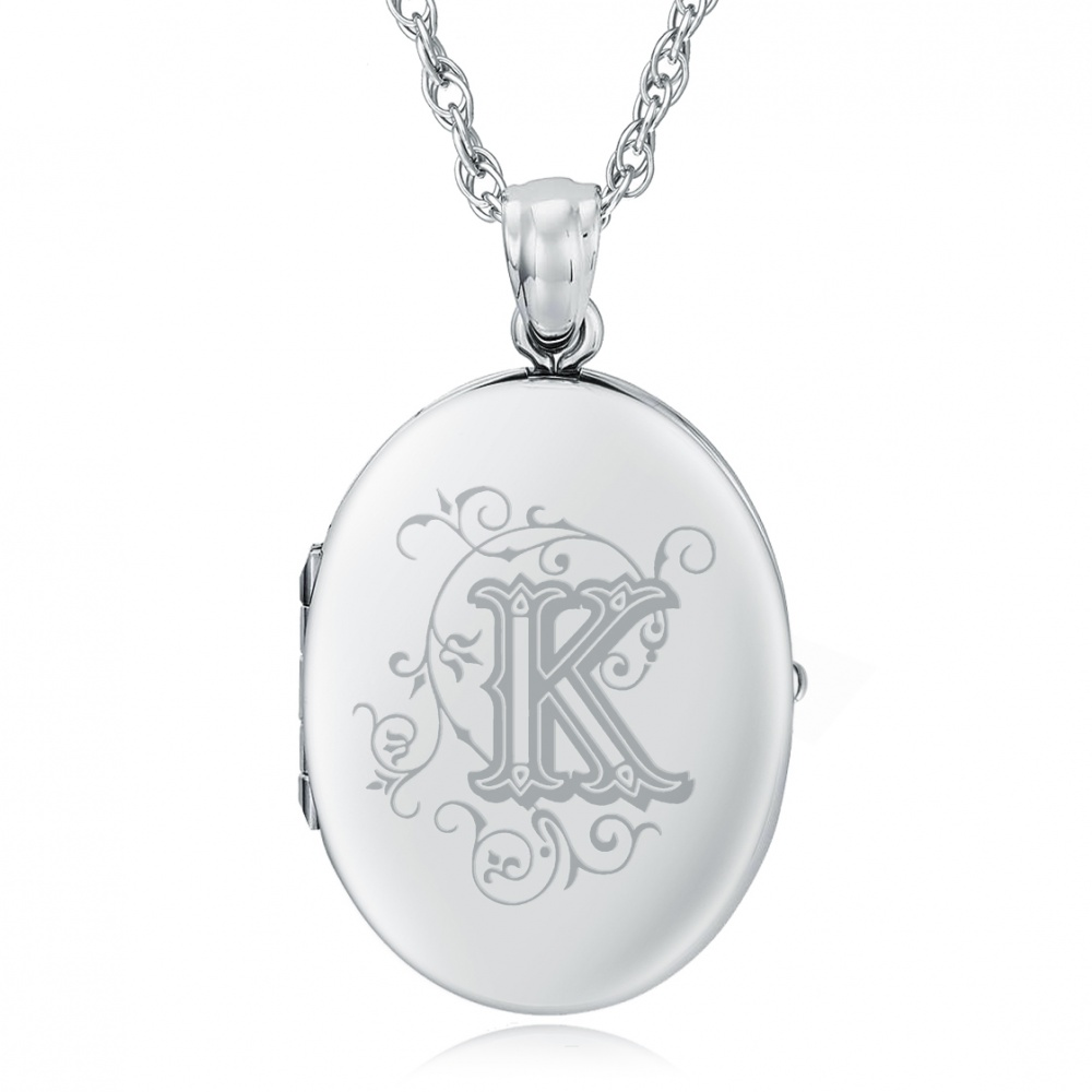 Initial/Letter K Sterling Silver 2 Photo Locket (can be personalised)