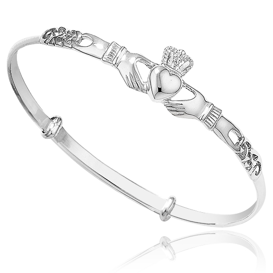 Ladies Claddagh Bangle, 925 Sterling Silver, Expandable