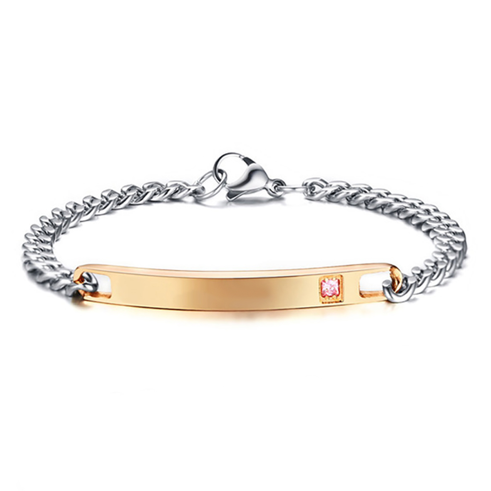 Ladies Gold & Silver Identity Bracelet with Pink CZ, Personalised