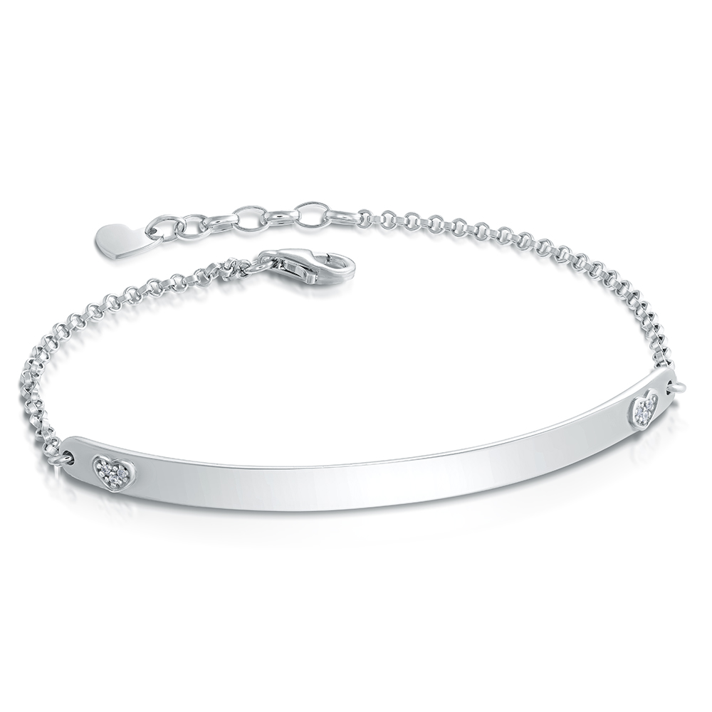 Ladies Bridge to My Heart ID Bracelet, Personalised, Sterling Silver