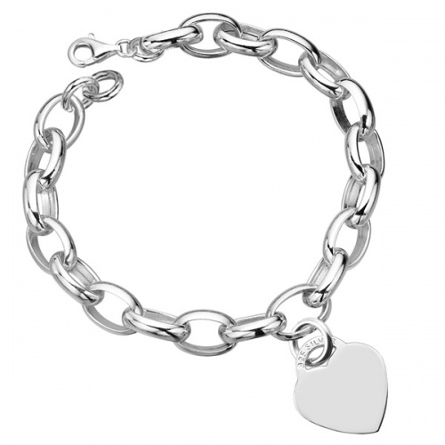 Ladies Large Link & Heart Hallmarked Sterling Silver Bracelet (can be personalised)