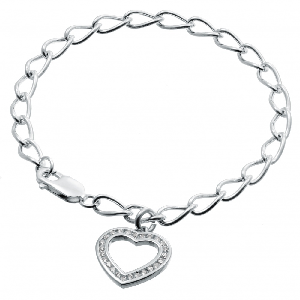 a880e954406102 Ladies Cubic Zirconia Heart Sterling Silver Bracelet