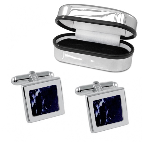 Lapis Lazuli & Sterling Silver Cufflinks (can be personalised)