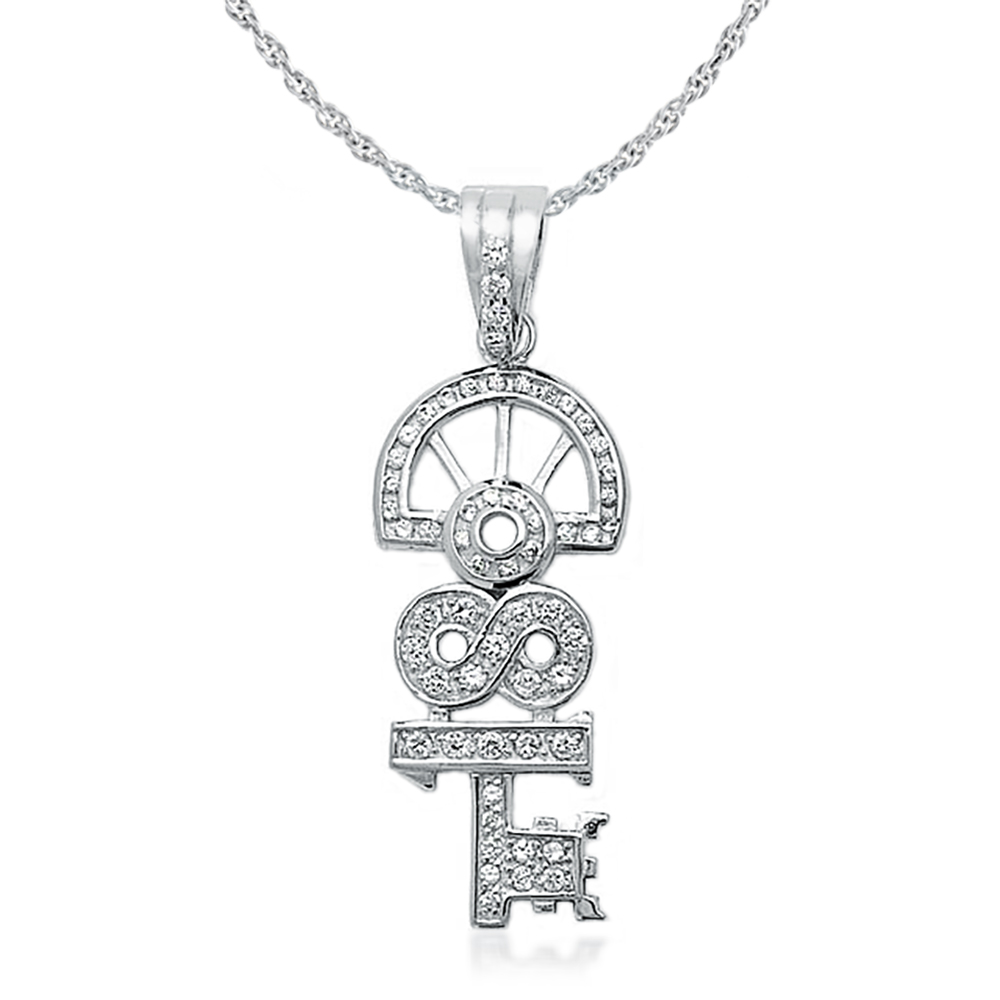 18th Birthday Key Necklace, Cubic Zirconia & Sterling Silver