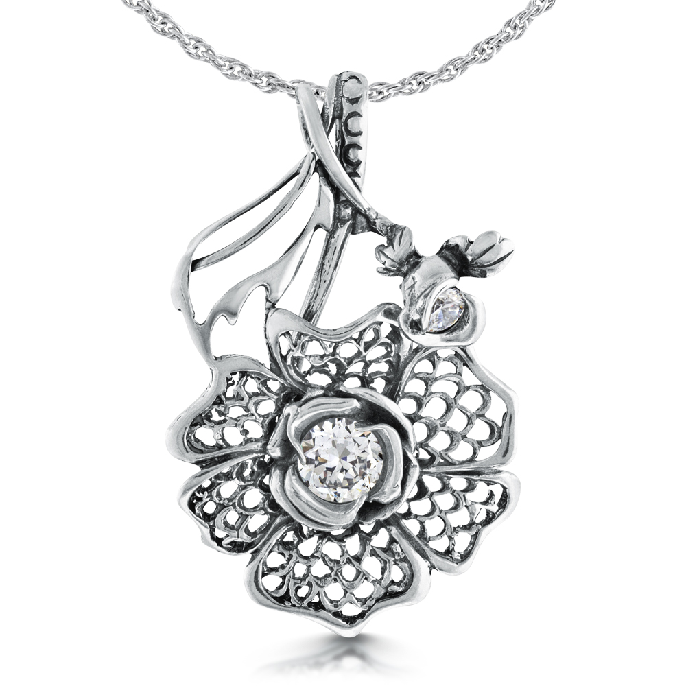 Large Victorian Style Flower Necklace, Sterling Silver, Cubic Zirconia