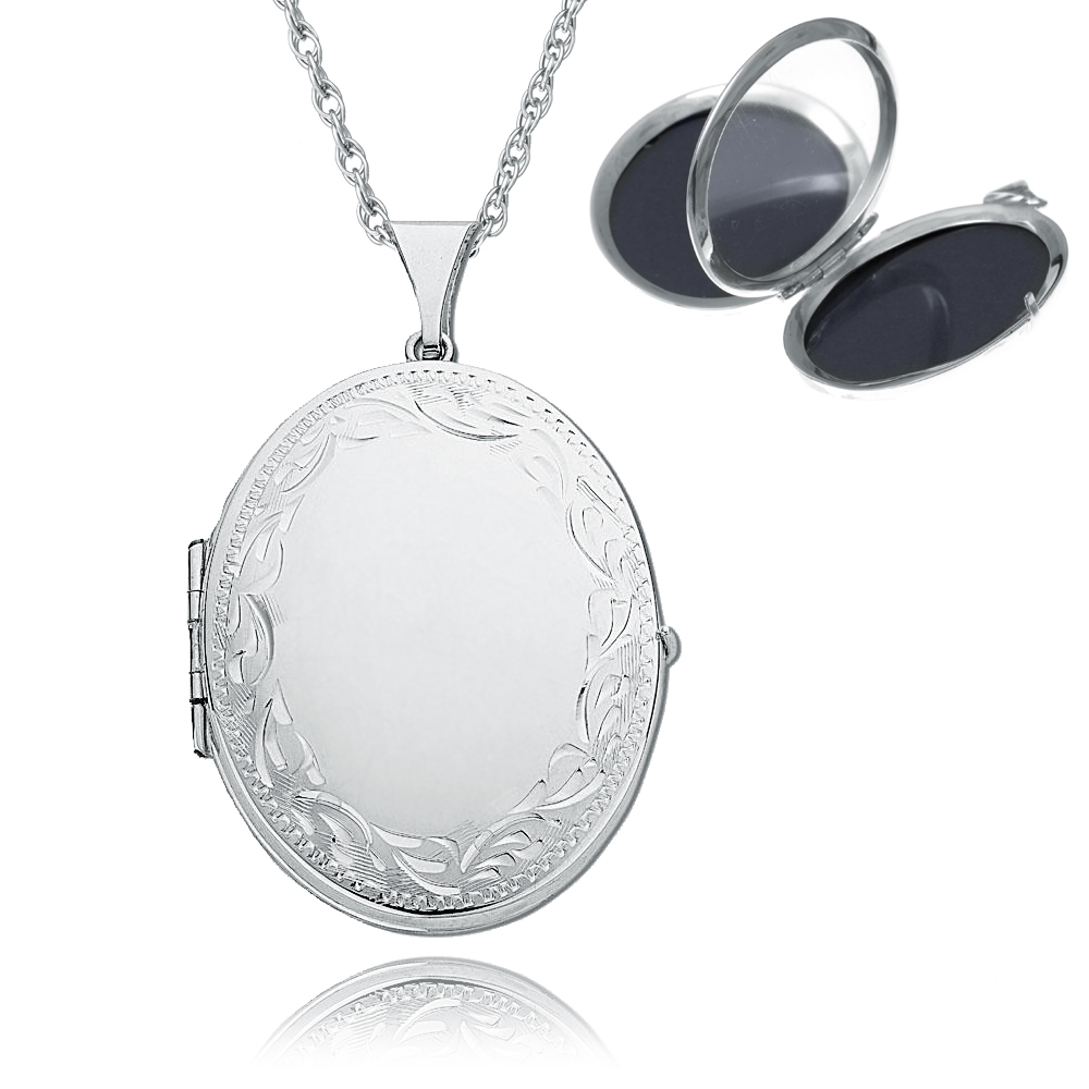 lockets locket engraved heart plain silver engravable small sterling puffed