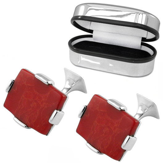Large Jasper Rectangular Sterling Silver Cufflinks (can be personalised)