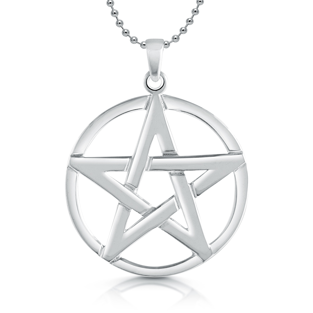 Large pentagram necklace sterling silver aloadofball Choice Image