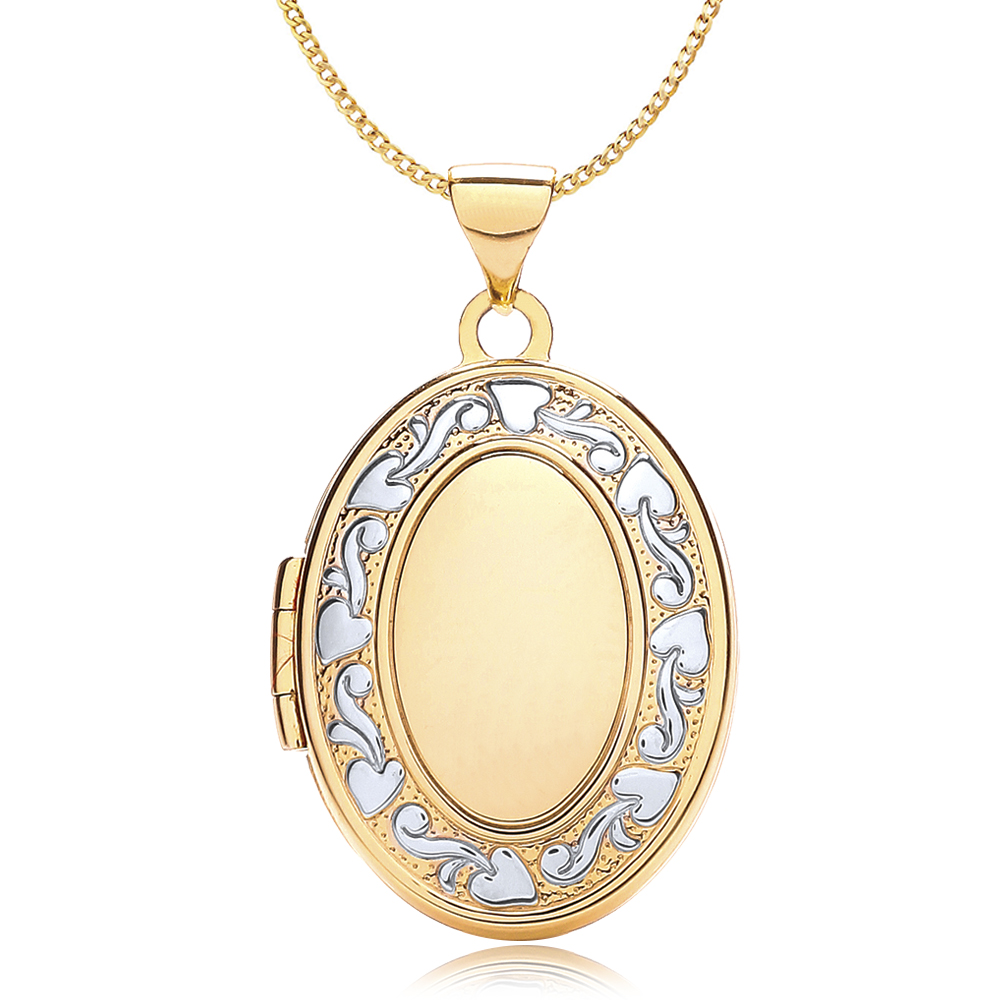 Art Nouveau Border Locket, 9ct Gold, Personalised / Engraved