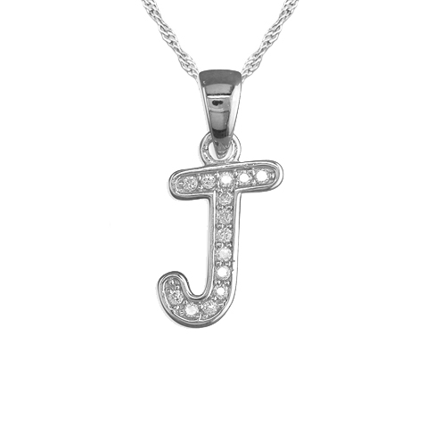 Girls Initial/Letter J Necklace Cubic Zirconia & Sterling Silver