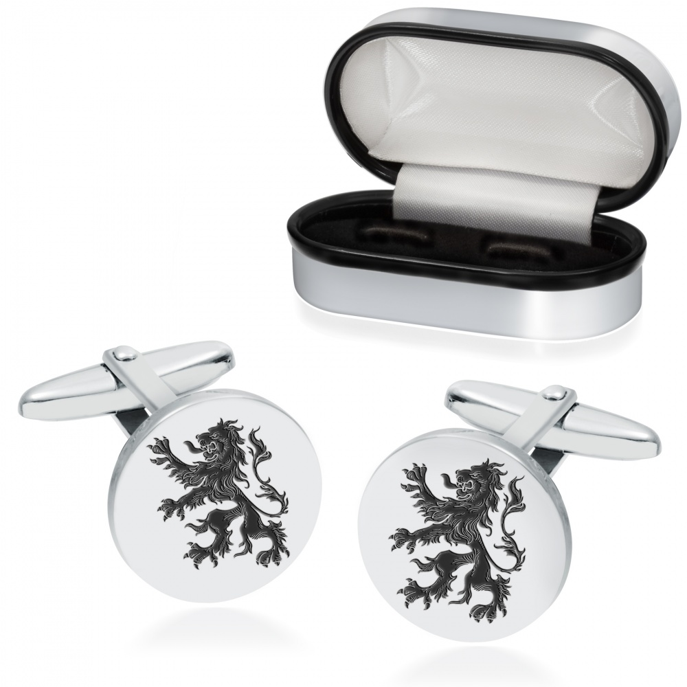Lion Rampant Cufflinks, Personalised, 925 Sterling Silver