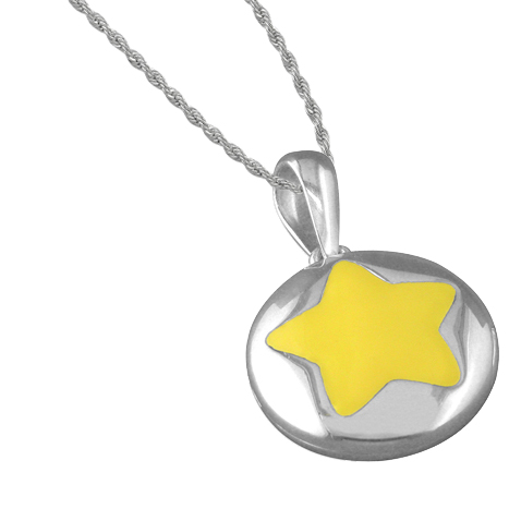 Girls Little Star Yellow Star Sterling Silver Locket Necklace by Pippa