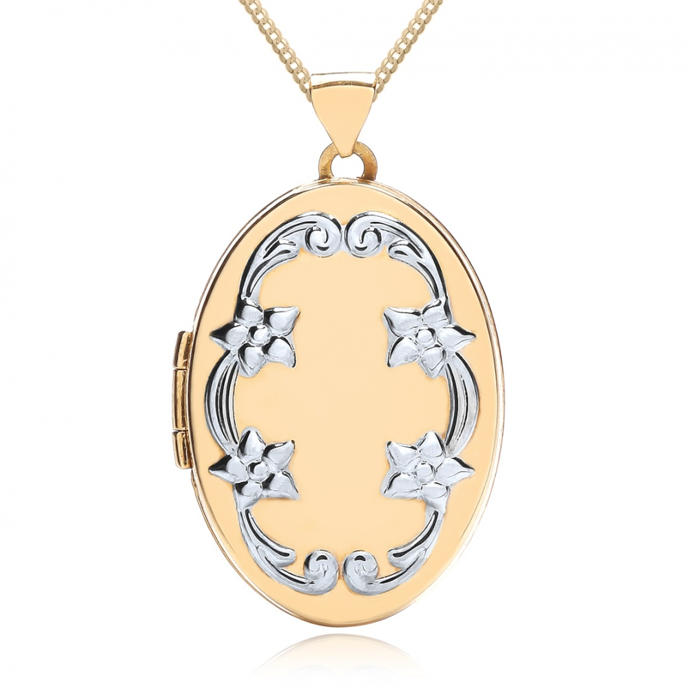 Flower Border Locket, Personalised, 9ct Yellow & White Gold