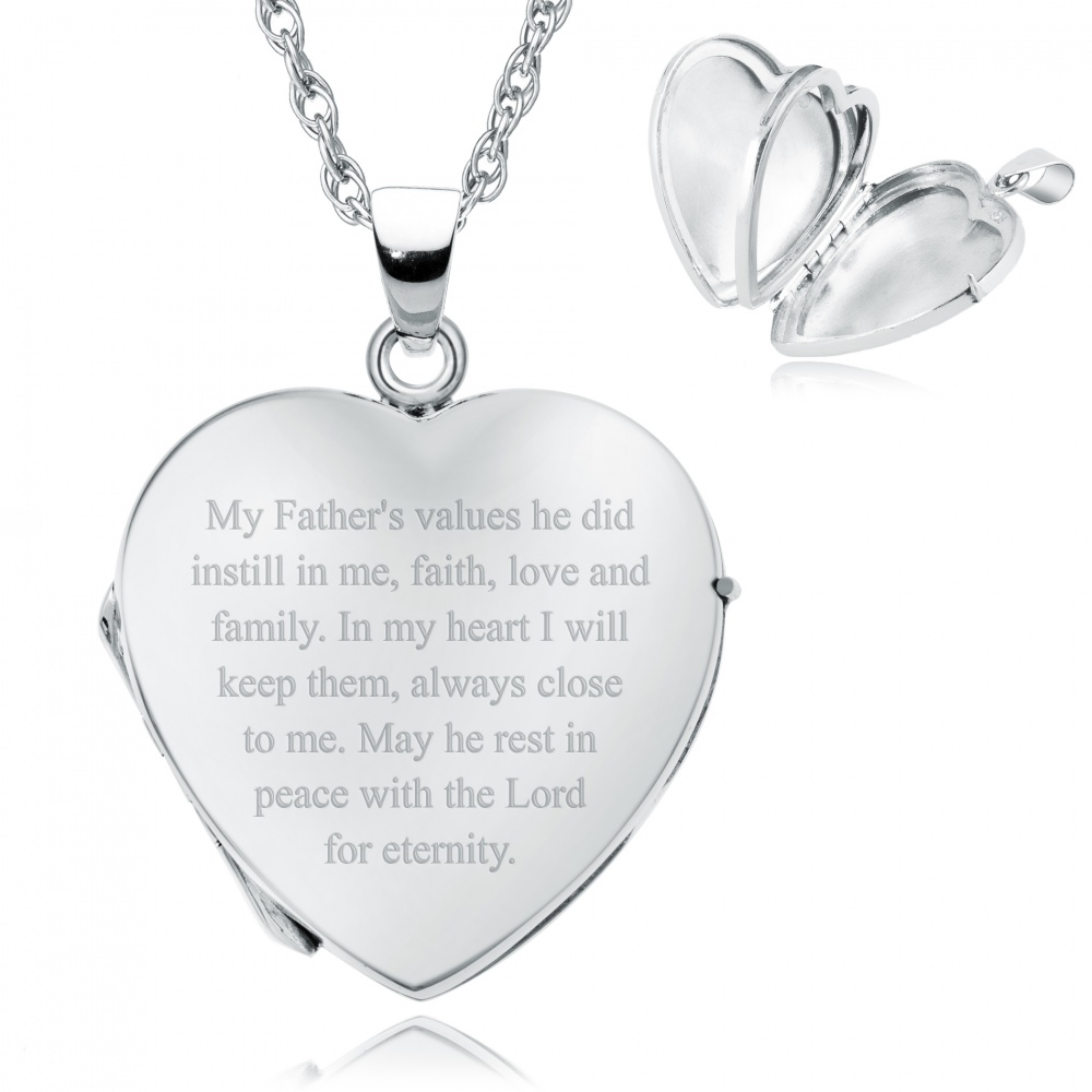 Loss of a Father Heart Shaped Sterling Silver 4 Photo Locket (can be personalised)
