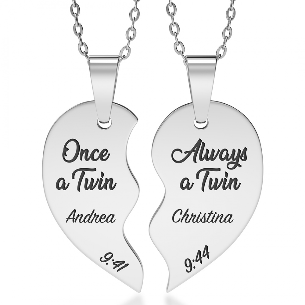 Twins Necklace, Personalised, Split Broken Heart, Sharing