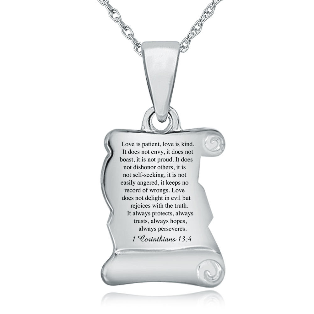 Love is Patient, Love is Kind Scroll Necklace, Personalised / Engraved, 925 Sterling Silver