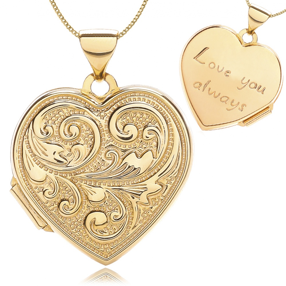 Love You Always Heart Locket, 9ct Yellow Gold, Embossed Scroll Design