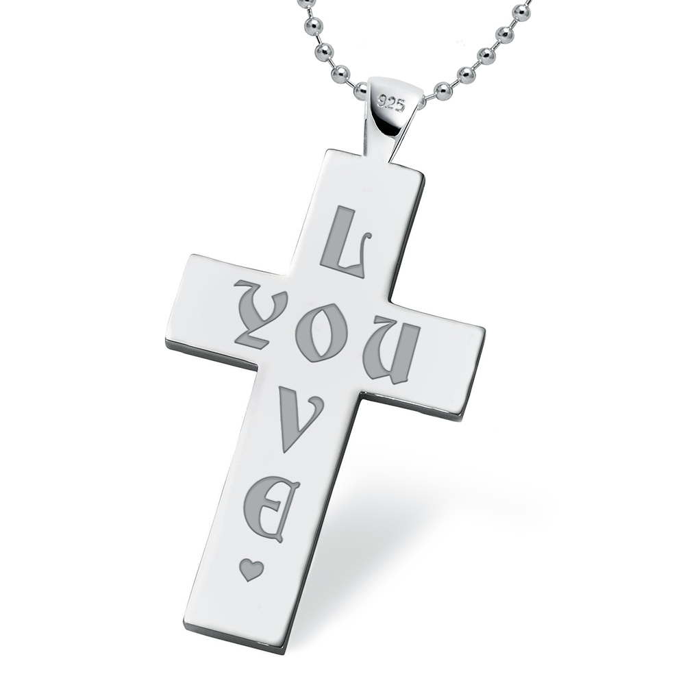 Mens 'Love You' Cross - 925 Sterling Silver Personalised / Engraved