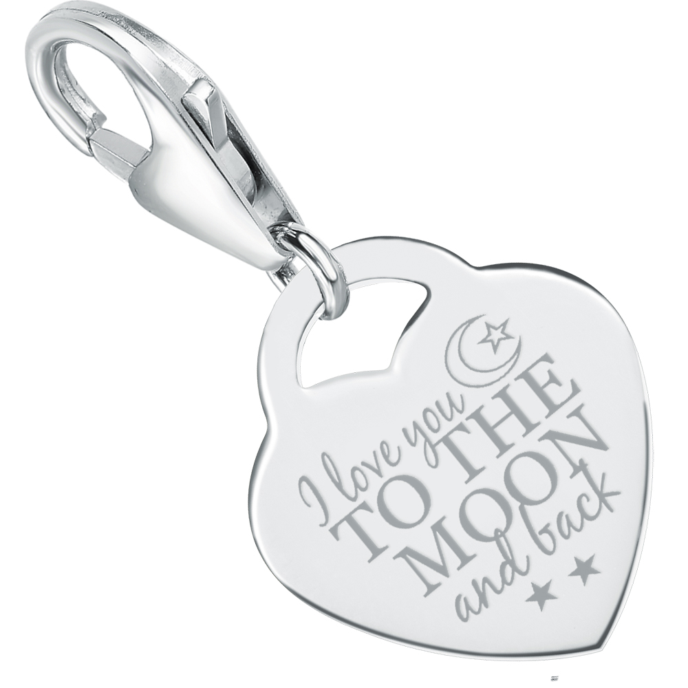 I Love You to the Moon & Back Charm, Personalised/Engraved, 925 Sterling Silver