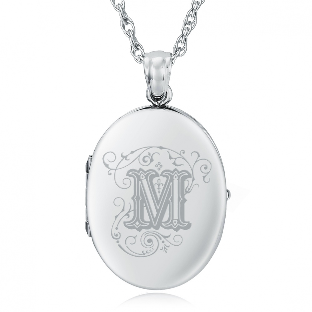Initial/Letter M Sterling Silver 2 Photo Locket (can be personalised)