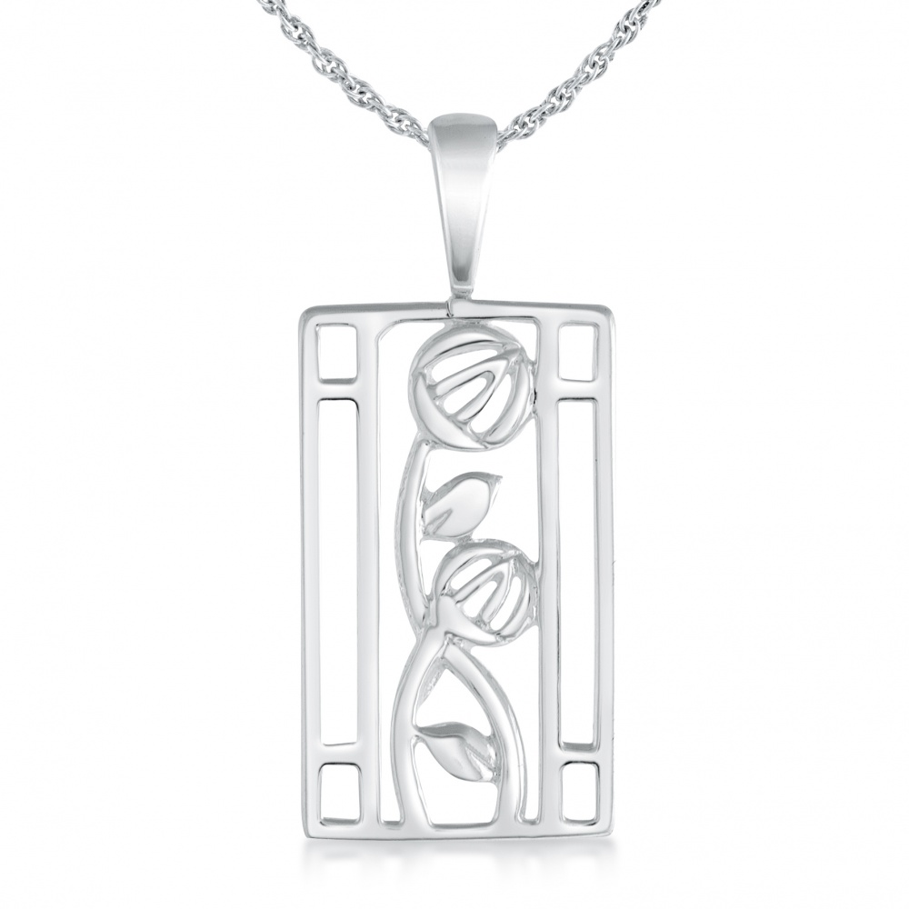 Mackintosh Style Necklace, Sterling Silver, Oblong