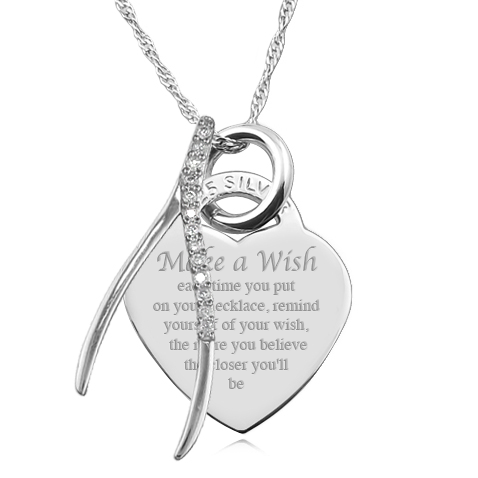 Make A Wish Necklace, Personalised, Sterling Silver