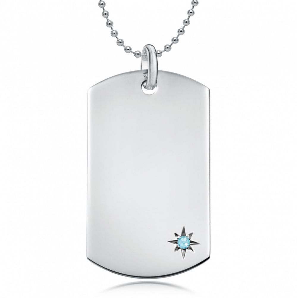 March Birthstone Dog Tag Necklace, Personalised Engraving, Sterling Silver, Aquamarine